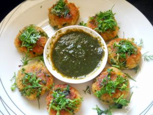 Corn with Basil Tikki Recipe